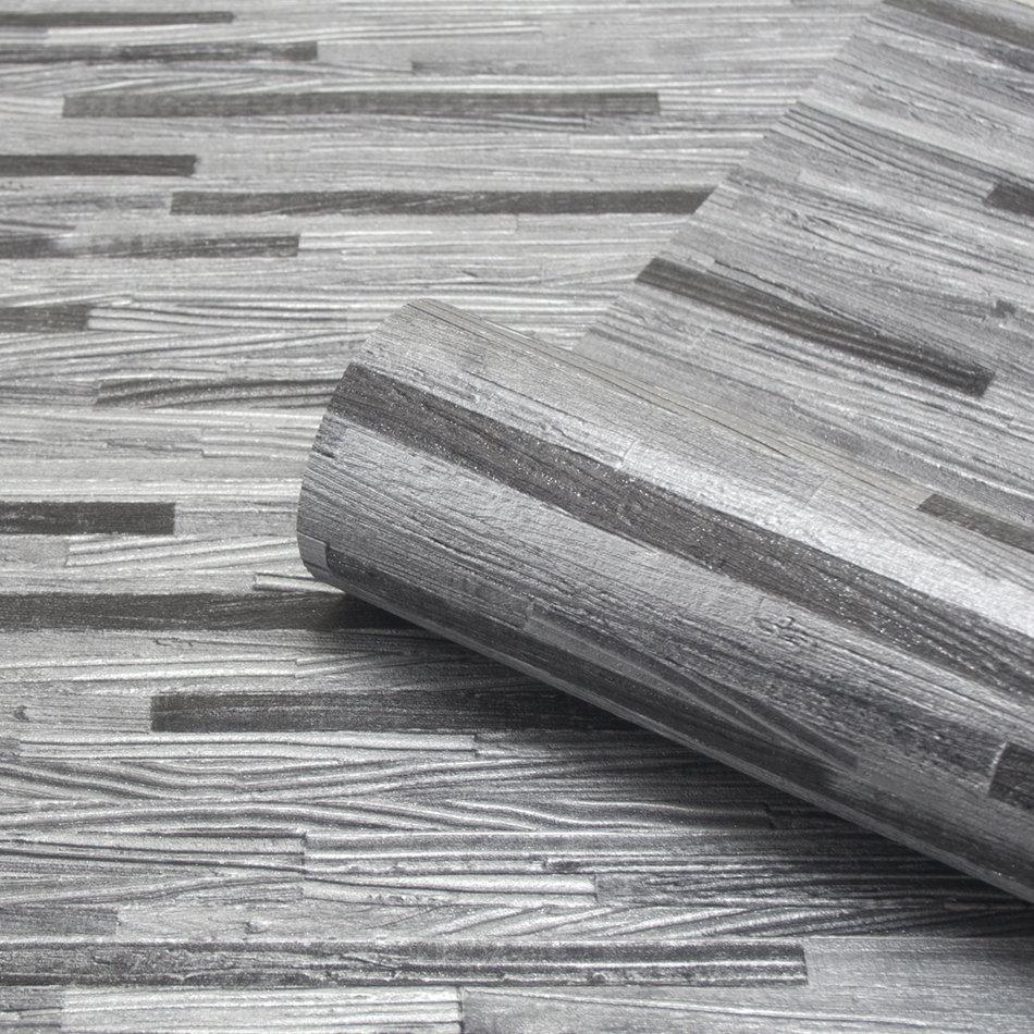 Albany Milana Wood Effect Charcoal Wallpaper - Product code: 6803