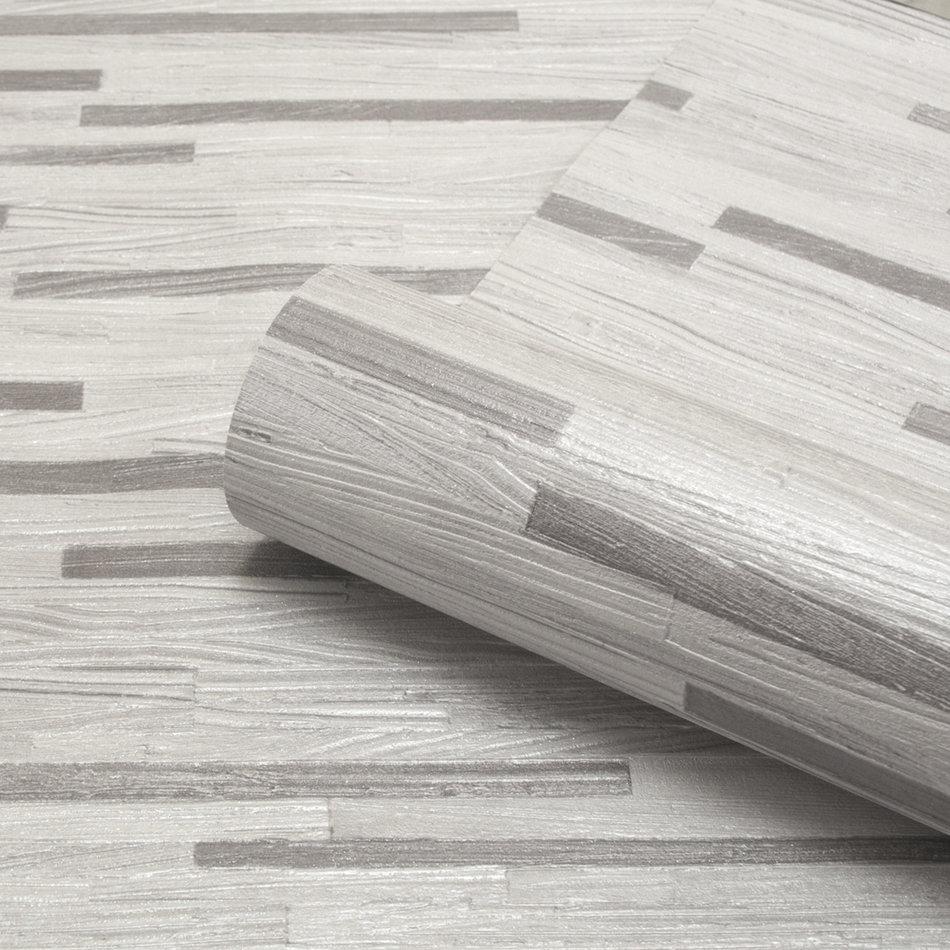 Albany Milana Wood Texture Silver Wallpaper - Product code: 6804