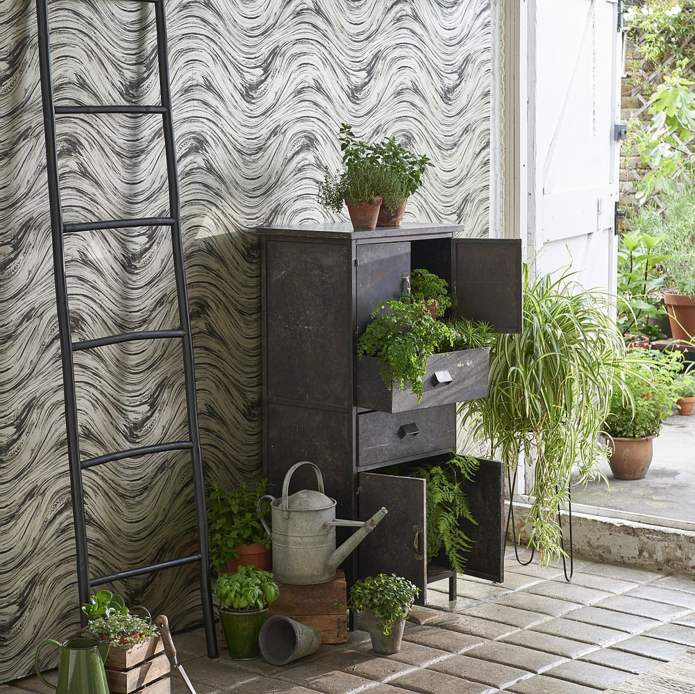 Agata Wallpaper - Charcoal / Gold - by Clarke & Clarke