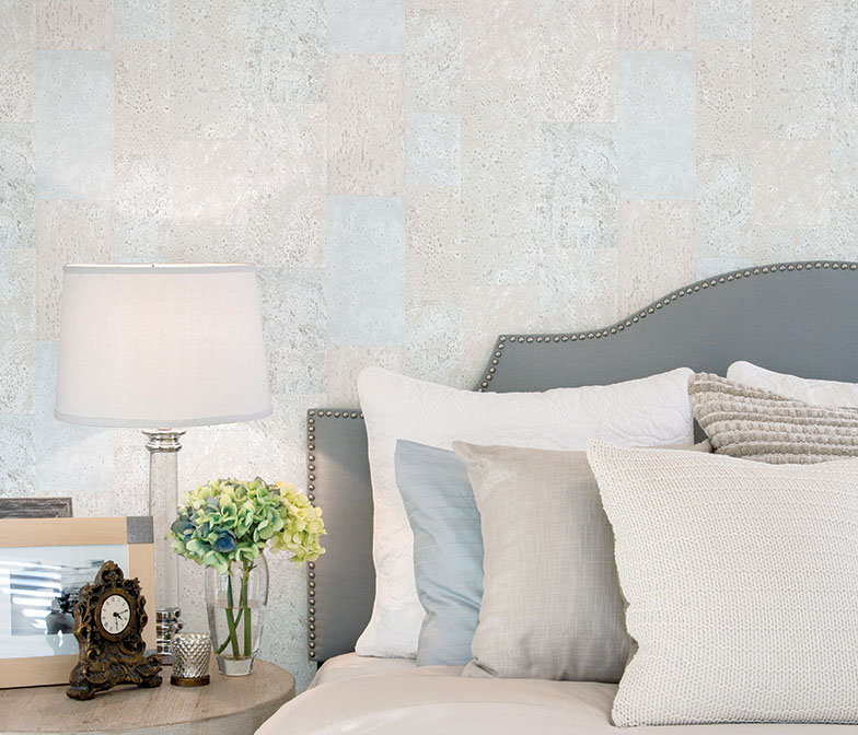 Galerie Cork Tile Duck Egg Wallpaper - Product code: G56397