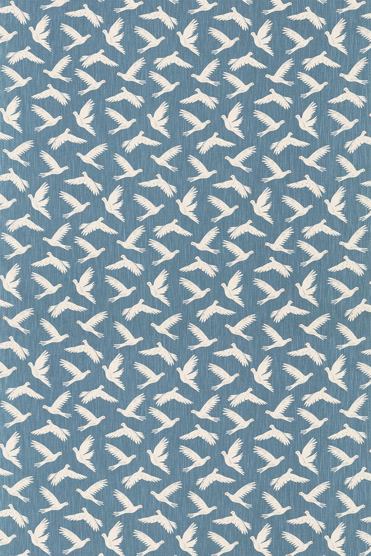Paper Doves Fabric - Denim - by Sanderson