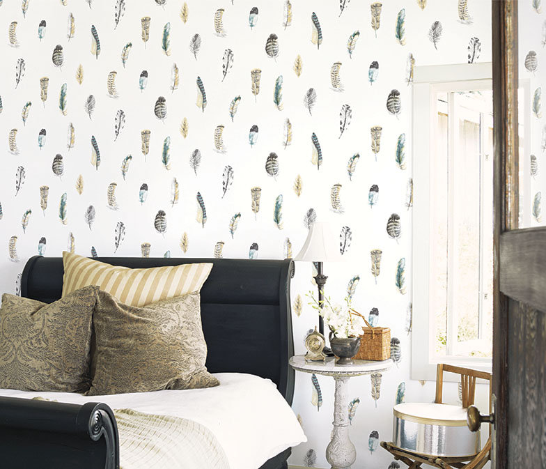 Feathers Wallpaper - Blue / Grey / Beige - by Galerie