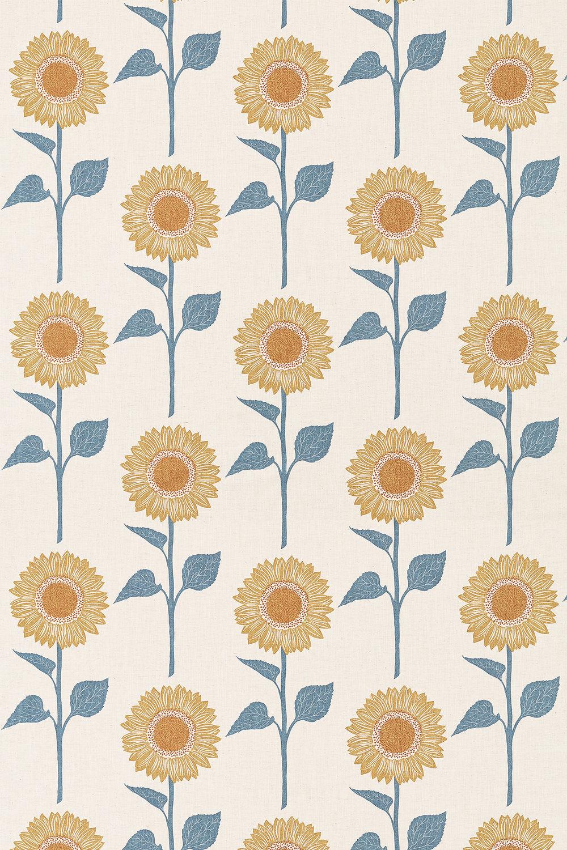 Sundial Fabric - Denim / Barley - by Sanderson