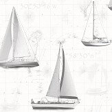Galerie Boats Black / Grey / Silver Wallpaper