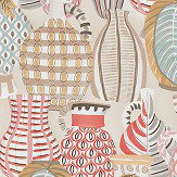 Nina Campbell Collioure Coral / Duck Egg / Gold Fabric - Product code: NCF4290-01