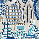 Nina Campbell Collioure Blue / Beige Fabric - Product code: NCF4290-04
