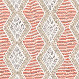 Nina Campbell Belle Ile Coral / Beige / Chocolate Fabric