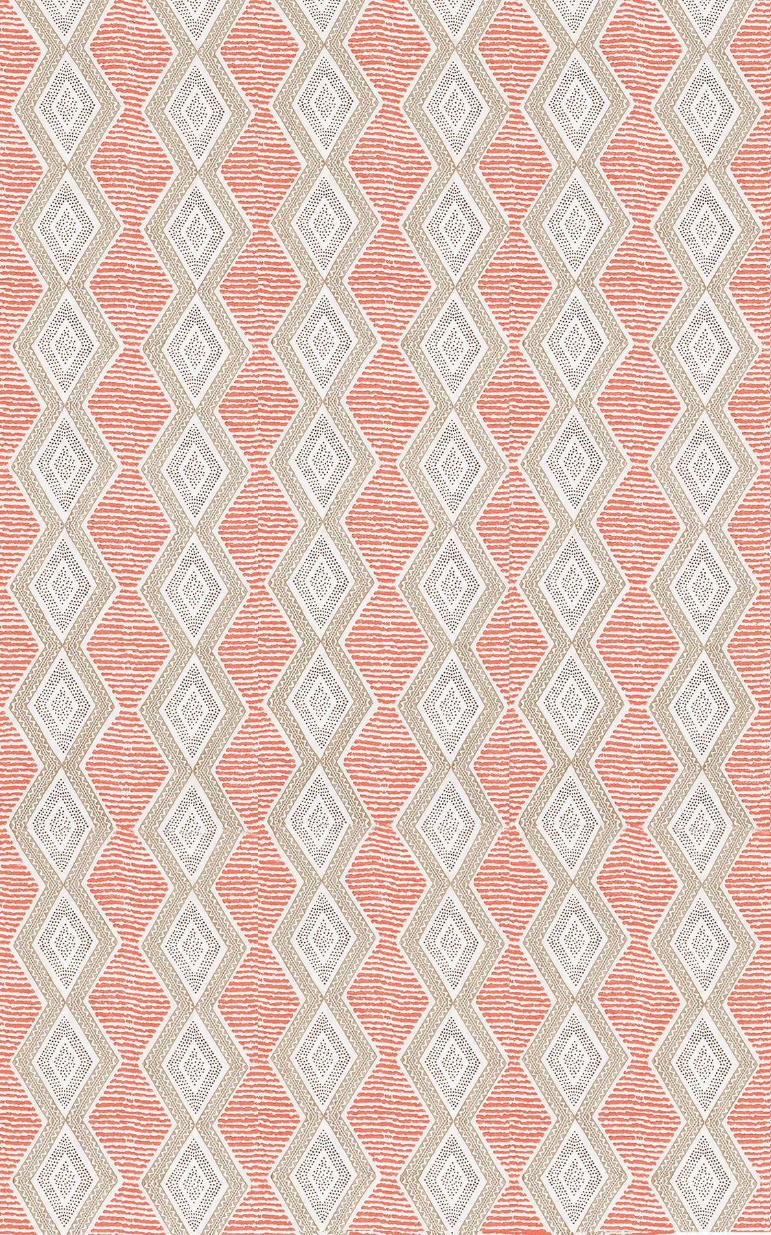 Nina Campbell Belle Ile Coral / Beige / Chocolate Fabric - Product code: NCF4291-01