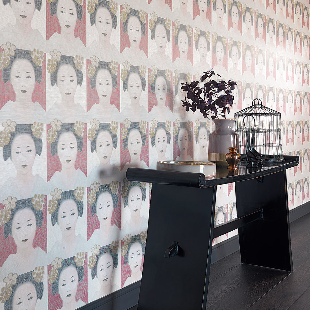 Osaka Wallpaper - Red / Gold / Cream / Black - by JAB Anstoetz