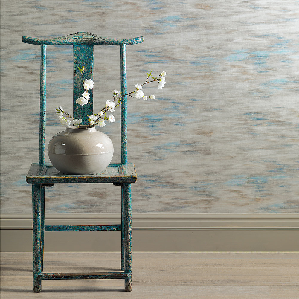 JAB Anstoetz  Oshimoto Blue / Grey / Cream Wallpaper - Product code: 4-4091-071