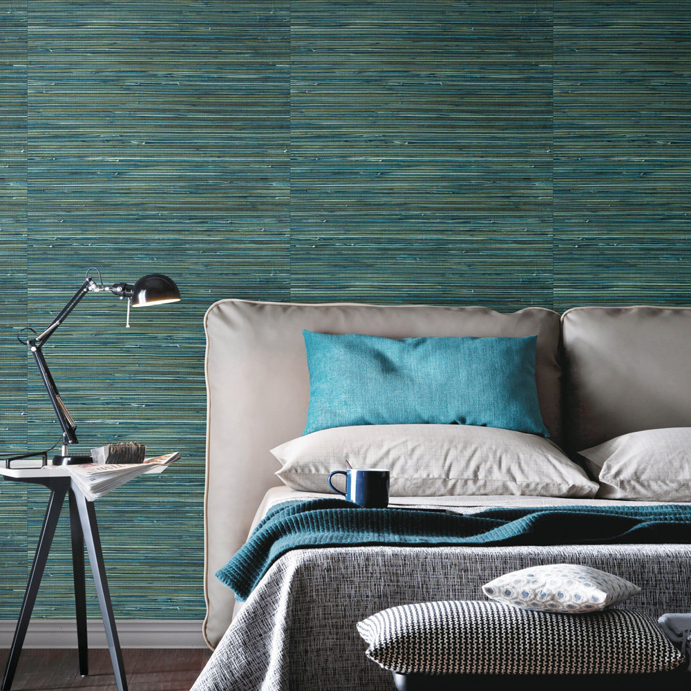 Brewers Faux Grasscloth Teal Wallpaper - Product code: SR210308