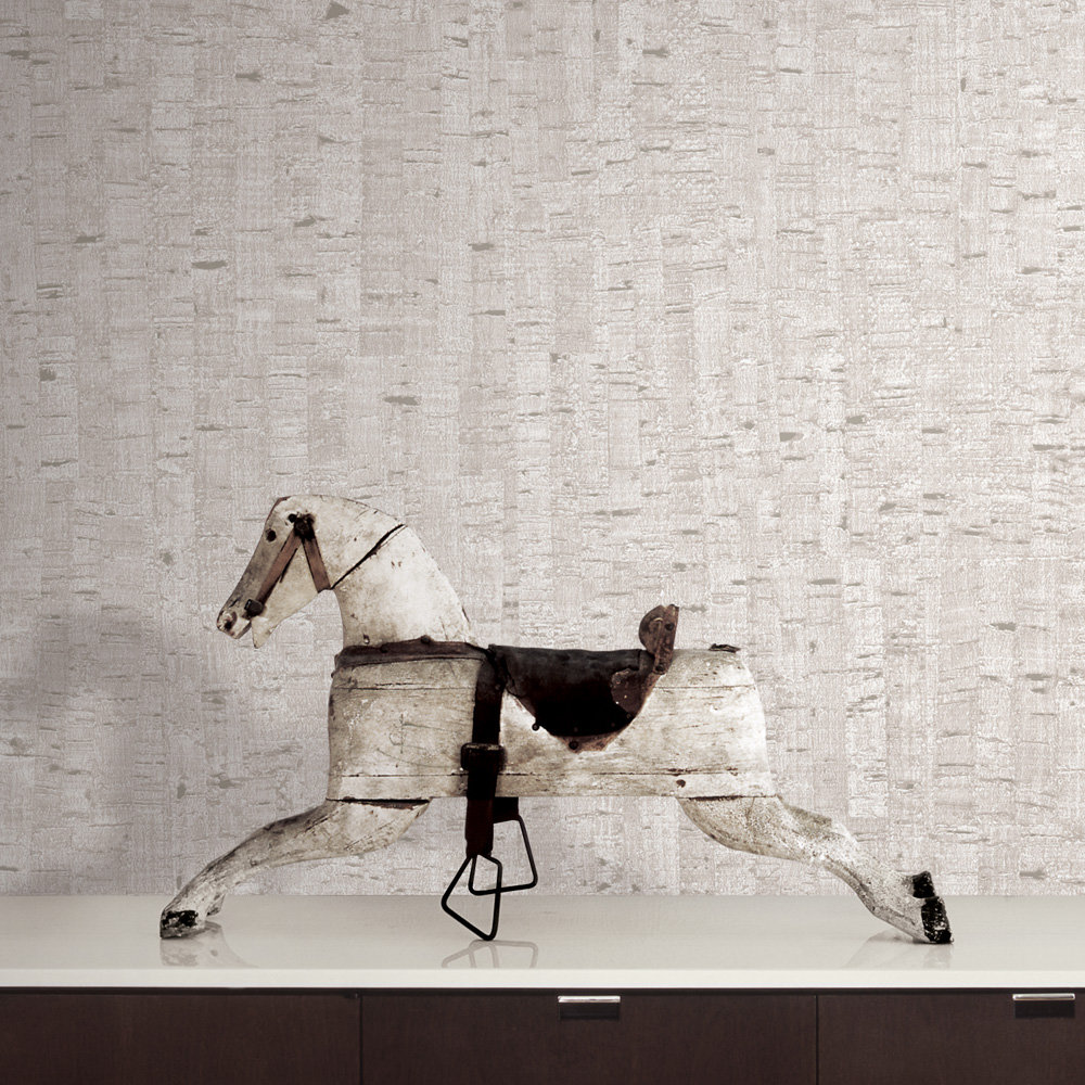 Natural Cork Wallpaper - Pale Pink / Silver - by Brewers