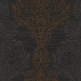 SketchTwenty 3 Sloane Damask Black / Brown Wallpaper - Product code: SL00807