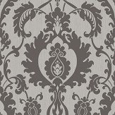 SketchTwenty 3 Bold Damask Beads Silver / Black Wallpaper