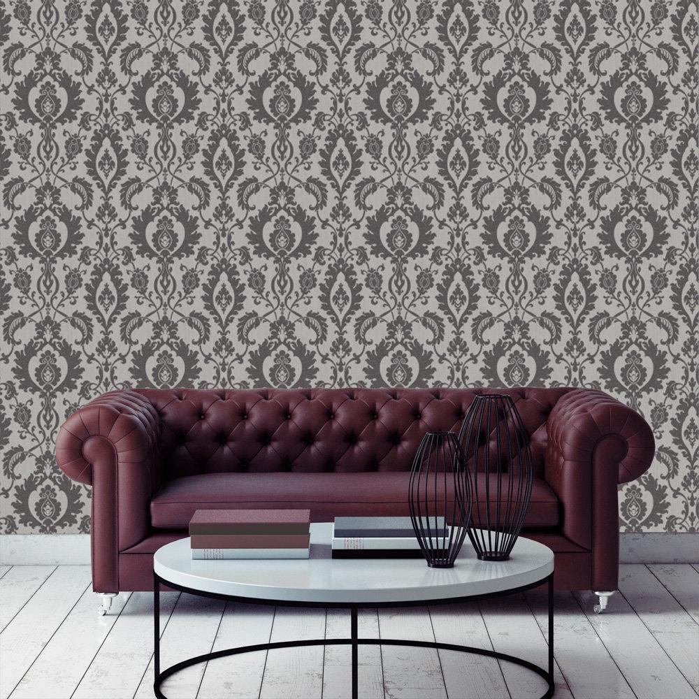 Bold Damask Beads Wallpaper - Silver / Black - by SketchTwenty 3