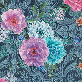 Matthew Williamson Duchess Garden Ink / Magenta / Turquoise Fabric - Product code: F7124-01