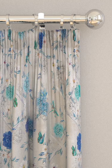 Matthew Williamson Rosanna Trellis Stone / Persian Blue / Turquoise Curtains