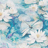 Matthew Williamson Water Lily Azure Blue Fabric - Product code: F7131-01