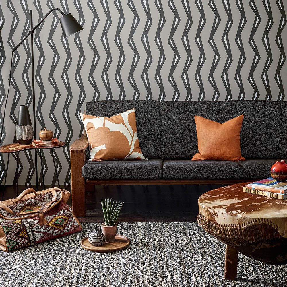 Scion Rayo Steel / Liquorice Wallpaper - Product code: 111814