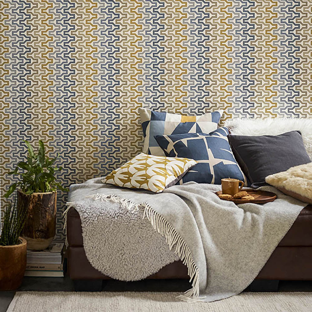 Sioux Wallpaper - Charcoal / Cinnamon / Slate - by Scion