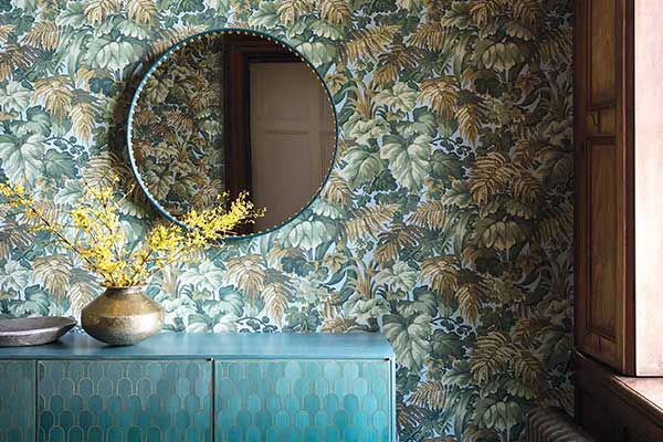 Cole Son Royal Fernery Khaki Print Room Blue Wallpaper
