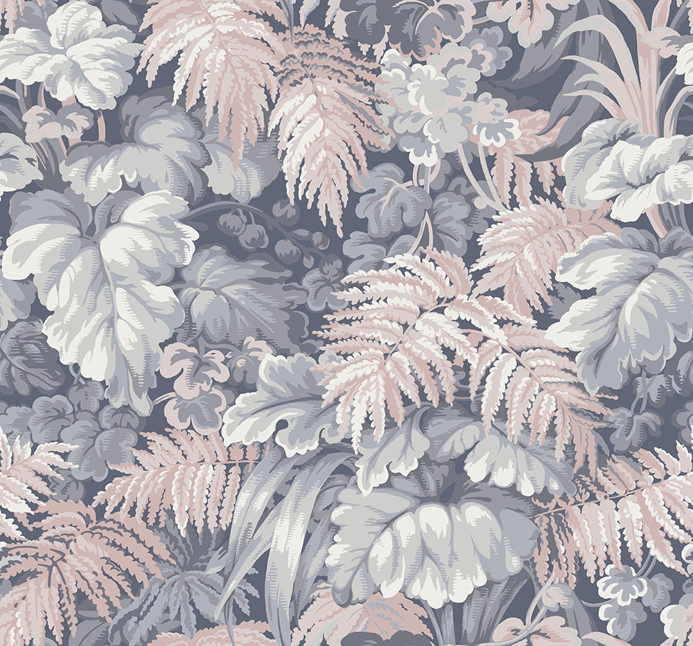 Cole & Son Royal Fernery Slate Blue / Blush Pink Wallpaper - Product code: 113/3010