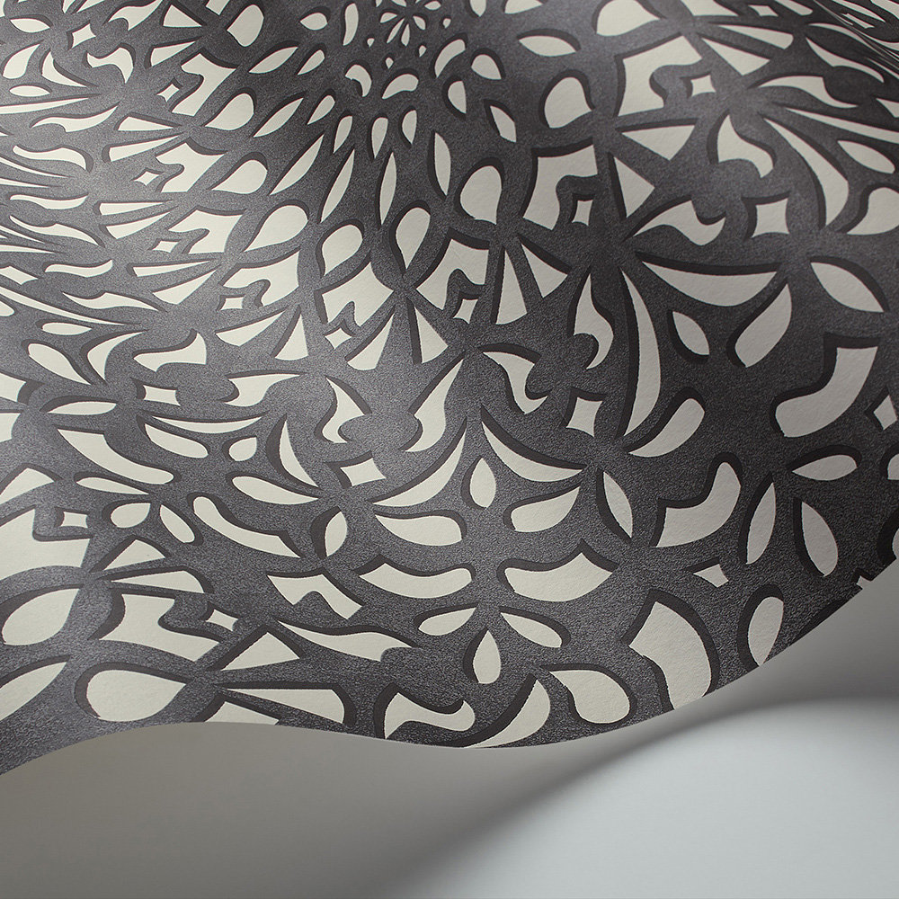 Medina Wallpaper - Soot / Snow - by Cole & Son