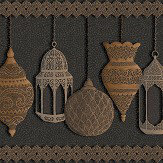 Cole & Son Fez Silver / Bronze / Charcoal Border