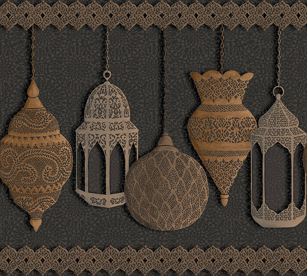 Cole & Son Fez Silver / Bronze / Charcoal Border - Product code: 113/6015