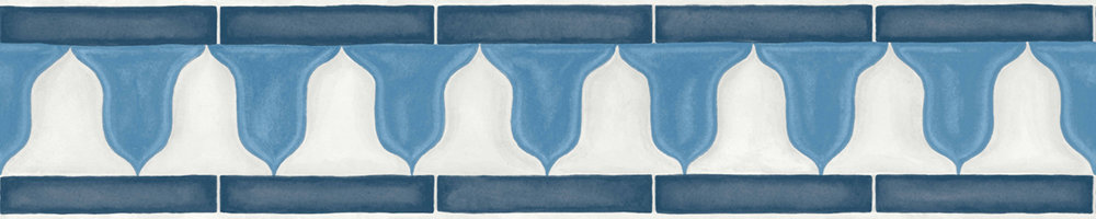 Cole & Son Zellige Border China Blue / White - Product code: 113/12036