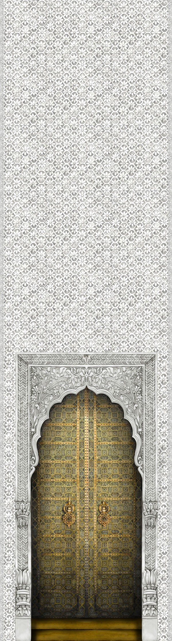 Bahia Panel Mural - Gold / Stone - by Cole & Son