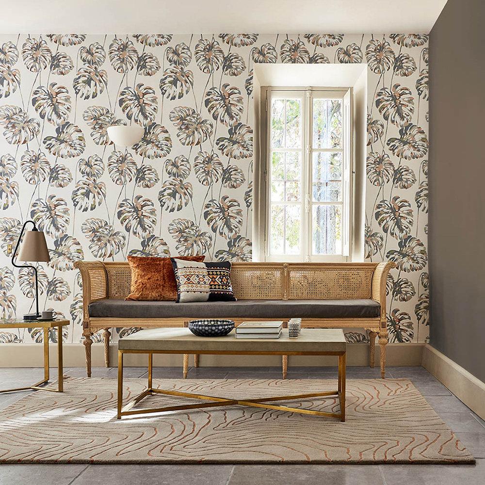 Kelapa Wallpaper - Charcoal / Blush - by Harlequin