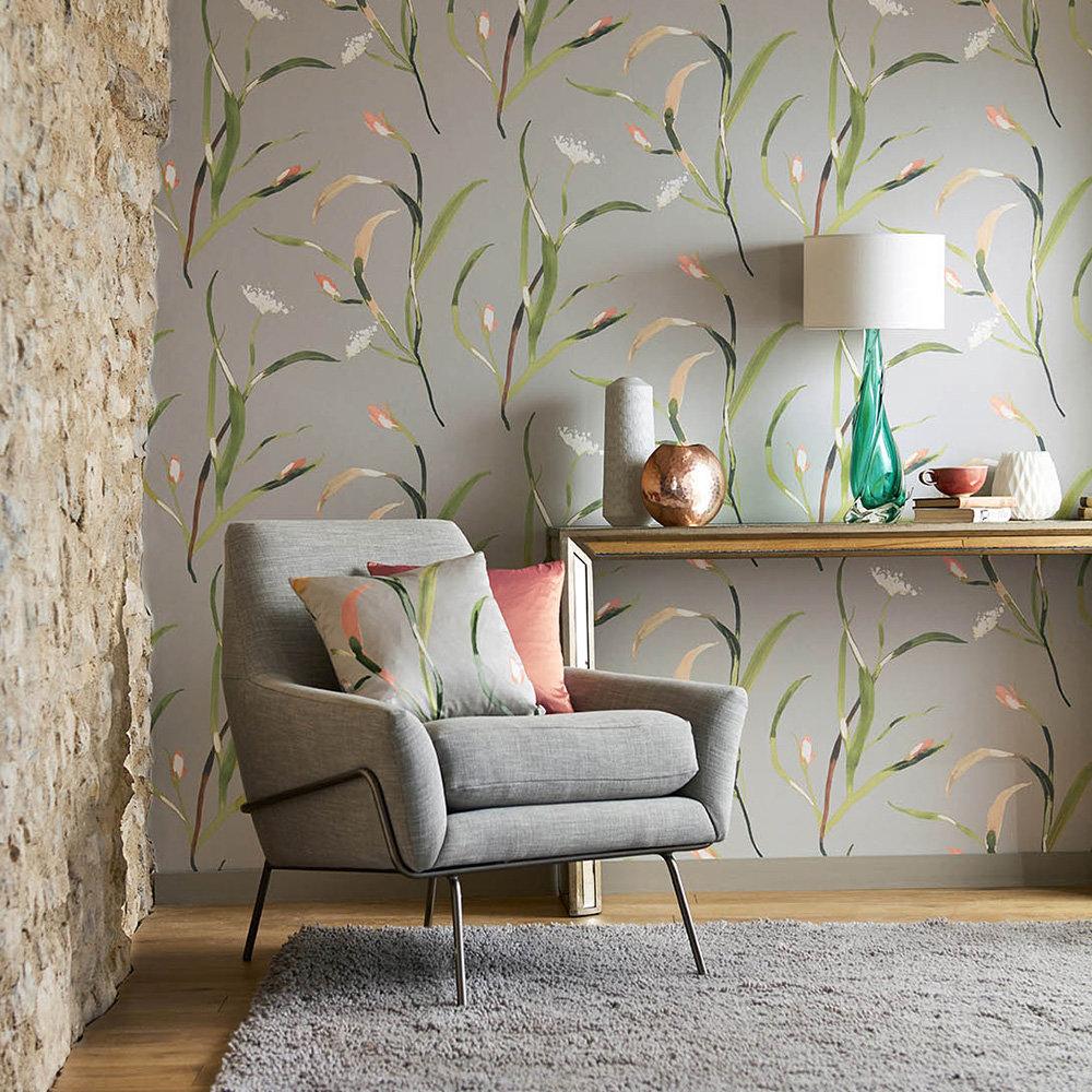 Saona Wallpaper - Coral / Silver - by Harlequin