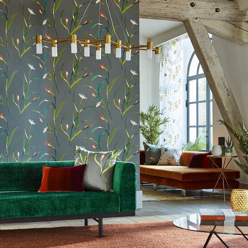 Saona Wallpaper - Kiwi / Charcoal - by Harlequin