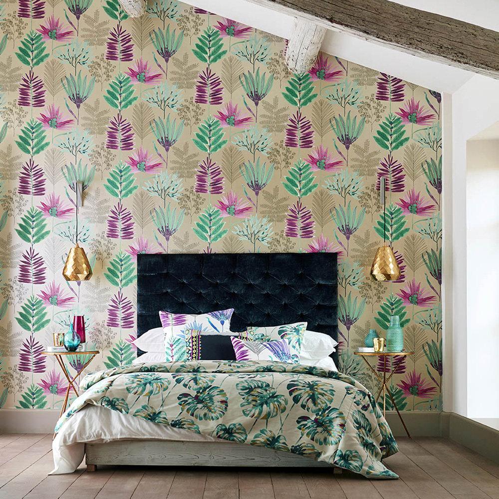 Yasuni Wallpaper - Lagoon / Cerise - by Harlequin