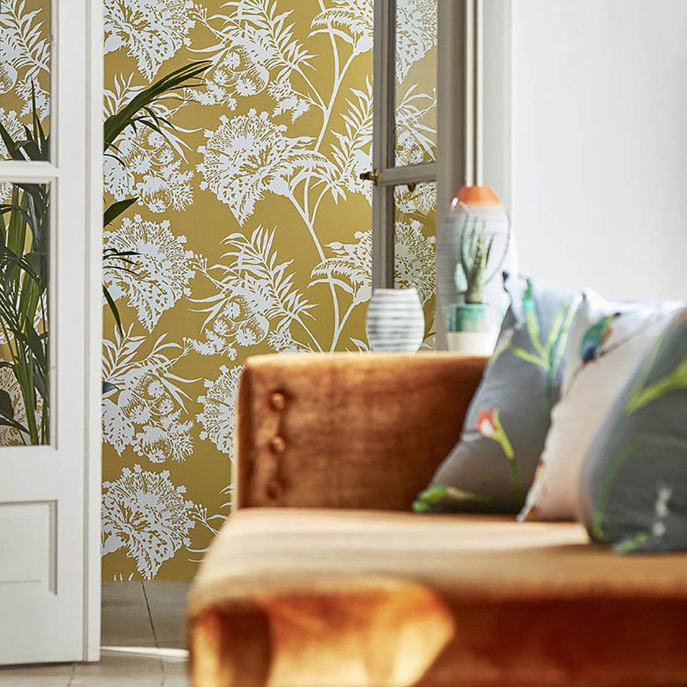 Bavero Wallpaper - Ochre - by Harlequin
