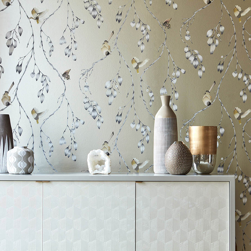 Iyanu Wallpaper - Linen / Blush - by Harlequin