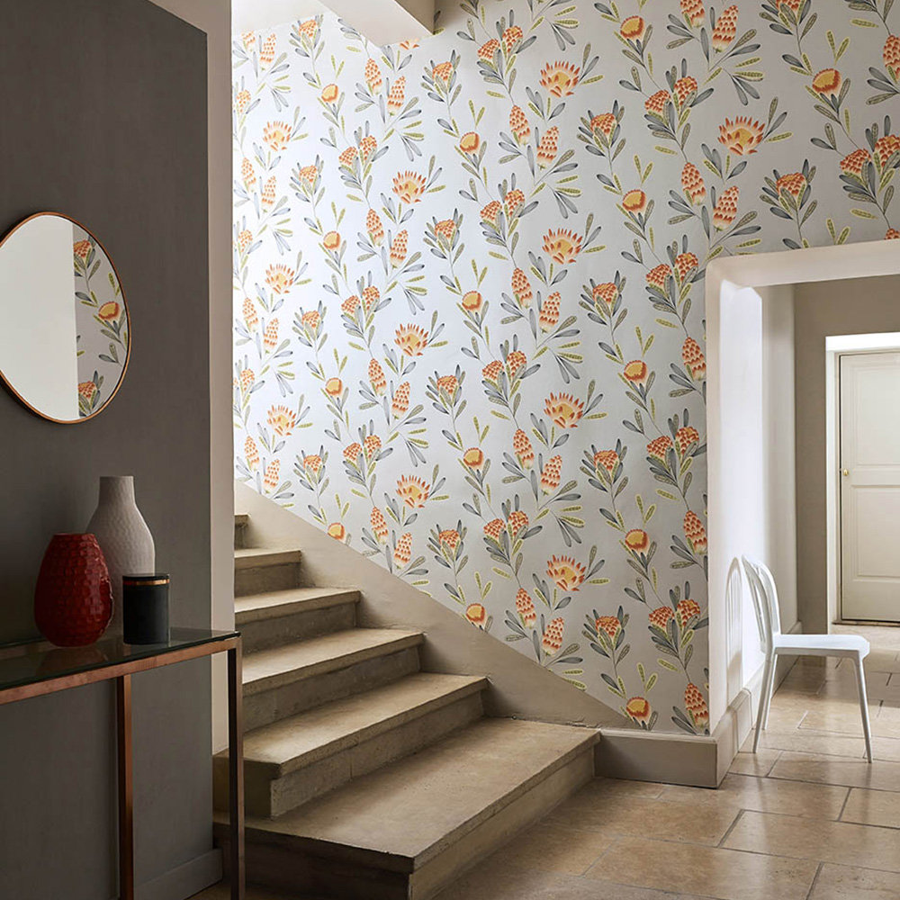 Cayo Wallpaper - Coral / Silver - by Harlequin