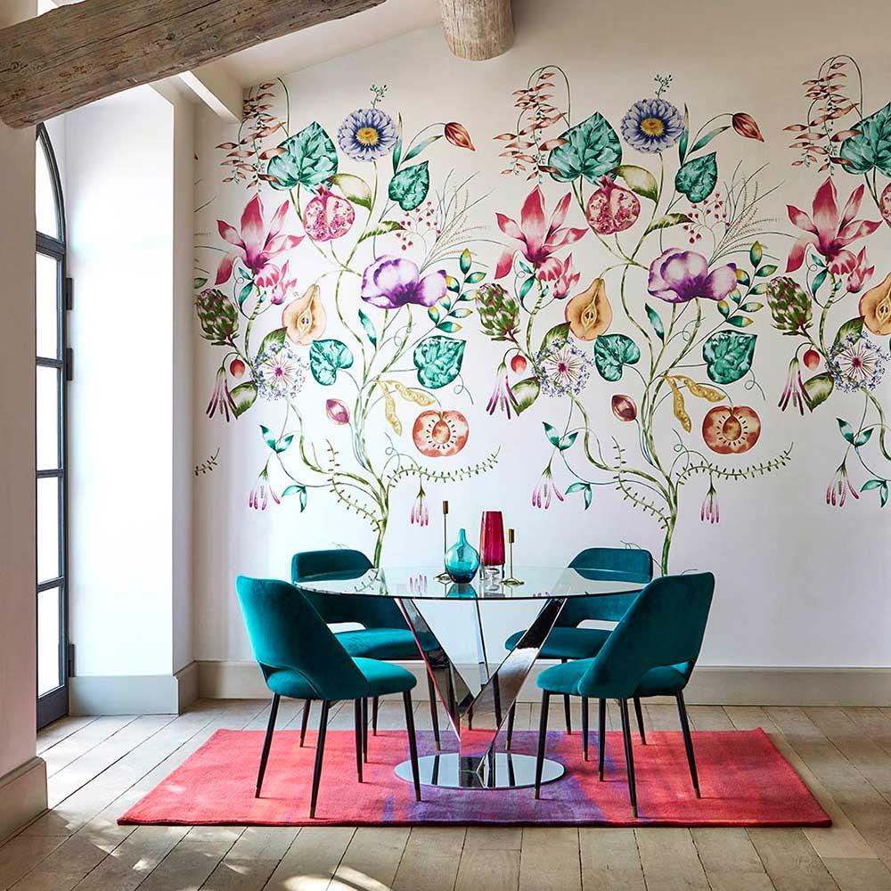Quintessence Panel Mural - Lagoon / Cerise - by Harlequin