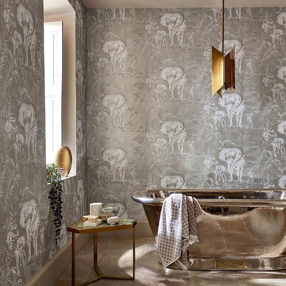 Kinablu Wallpaper - Silver - by Harlequin