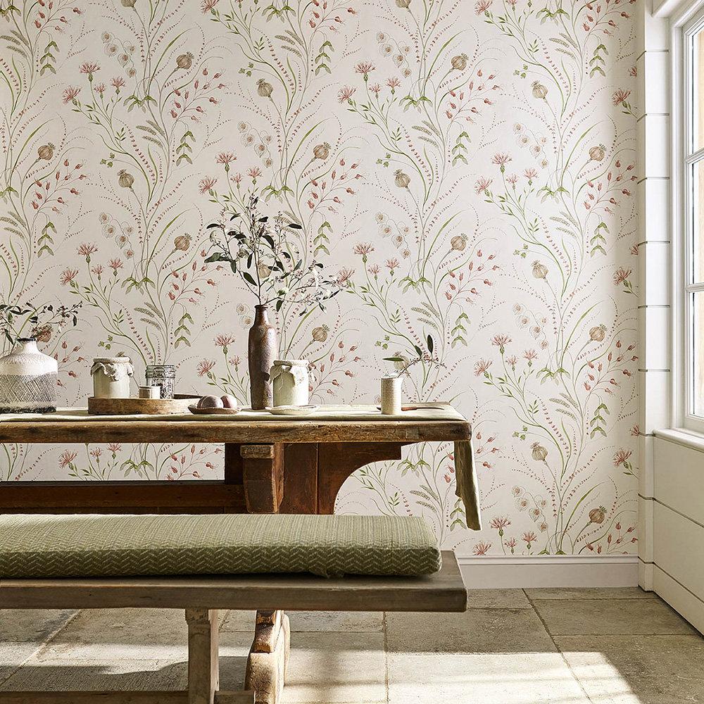 Summer Harvest Wallpaper - Claret / Olive - by Sanderson