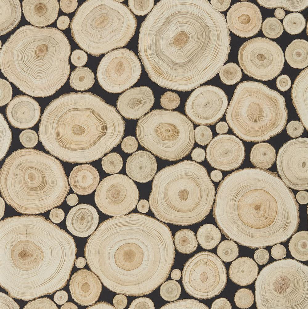 Sanderson Alnwick Logs Lacquer Black Wallpaper main image