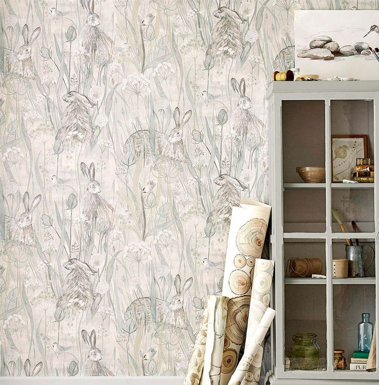 Dune Hares By Sanderson Mist Pebble Wallpaper