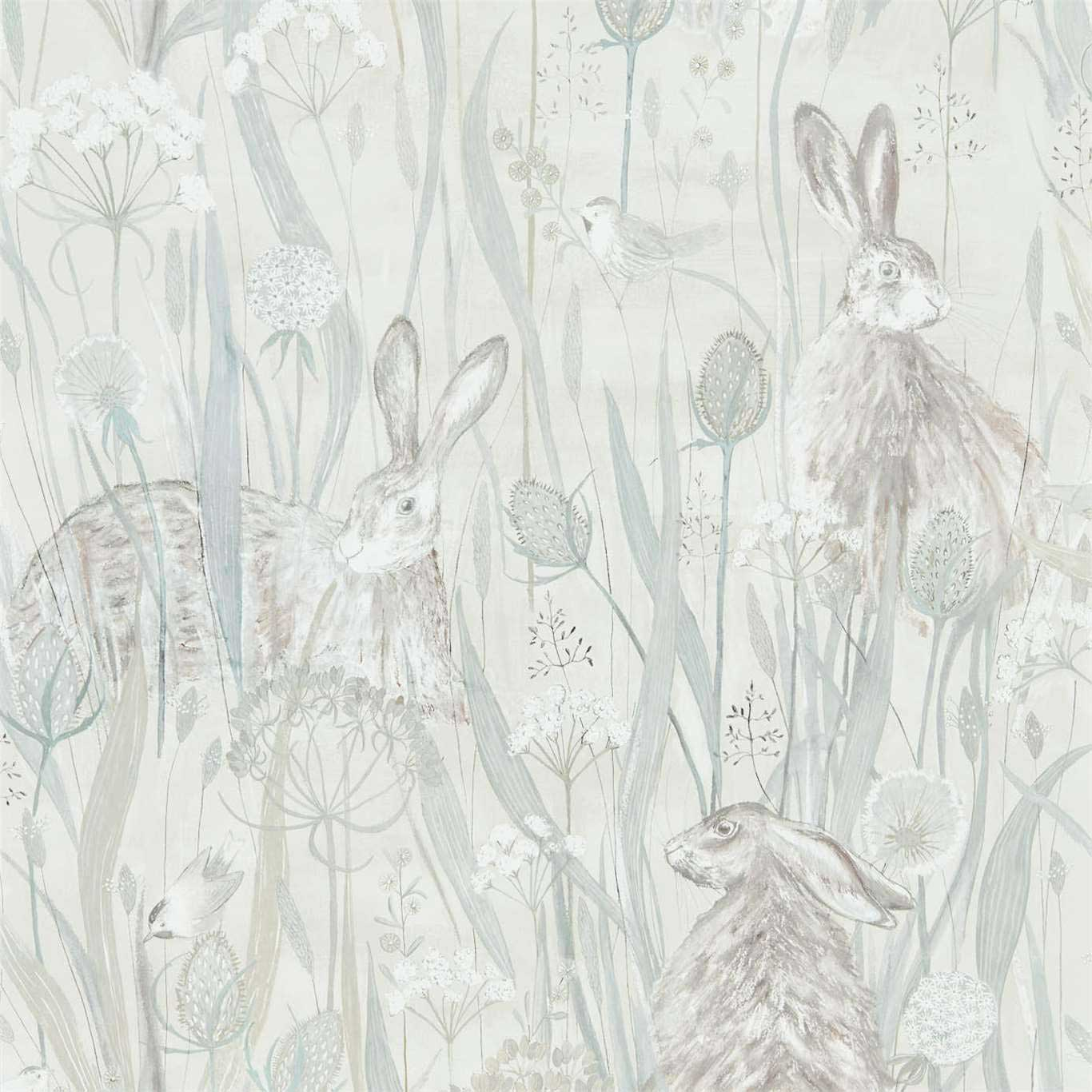Dune Hares Wallpaper - Mist / Pebble - by Sanderson