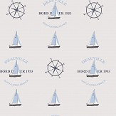 Galerie Boat and Compass Warm Grey / Blue Wallpaper