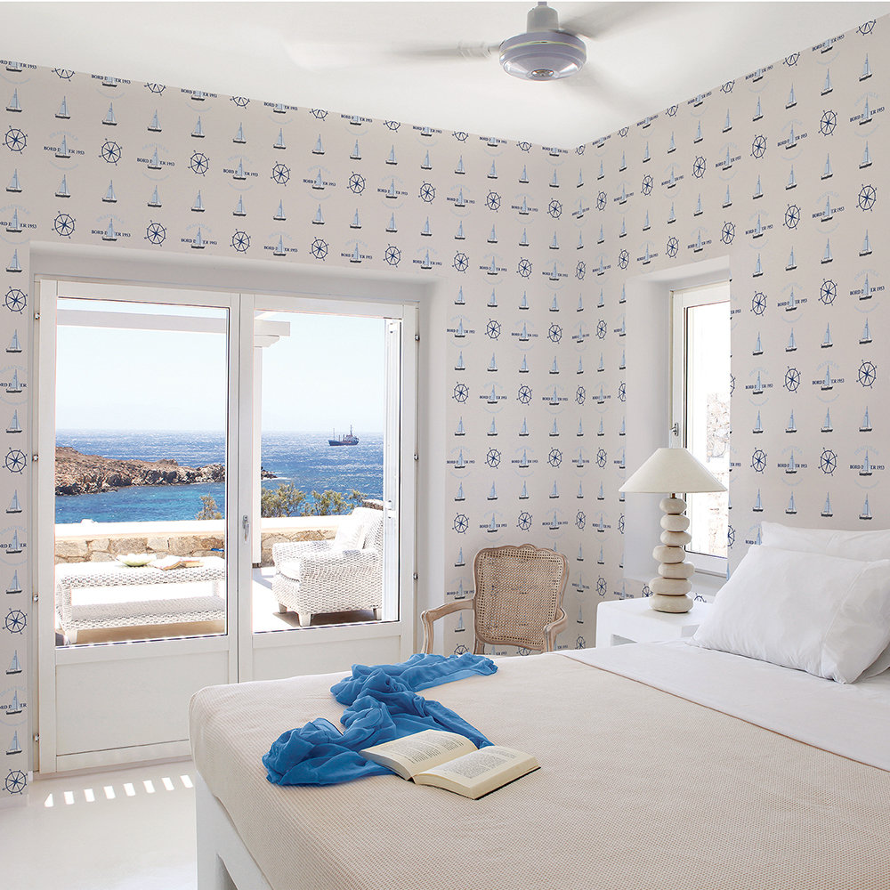 Galerie Boat and Compass Warm Grey / Blue Wallpaper - Product code: G23031