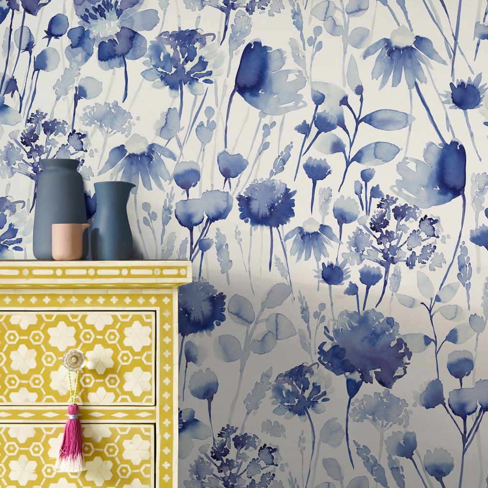 Corran Wallpaper - Cornflower Blue - by bluebellgray