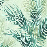 Albany Bamboo Palm Blue Green Wallpaper
