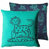 Blendworth Lion Cactus Cushion South Sea blue