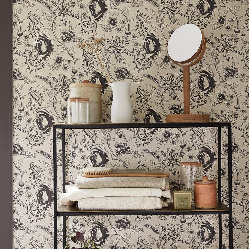 Woodblock Mono Wallpaper - Knightsbridge - by Little Greene